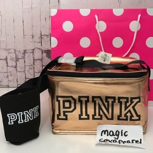 VS PINK COOLER LUNCH BOX COOZIE SET LOGO LUNCHBOX